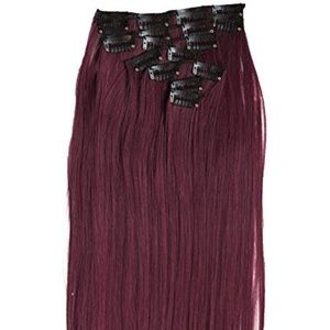 """20"""" Clip In Hair Extensions in Burgundy Red"""